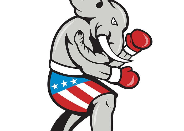 Elephant Greeting Card featuring the digital art Elephant Mascot Boxer Boxing Side Cartoon by Aloysius Patrimonio