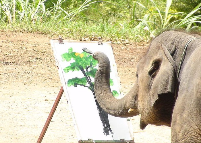 Asian Elephant Greeting Card featuring the photograph Elephant Charlie Paints The Tree Of Life by Colin Smeaton