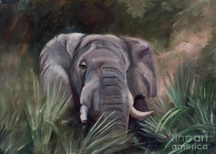 Elephant Greeting Card featuring the painting Elephant Portrait by Brenda Thour