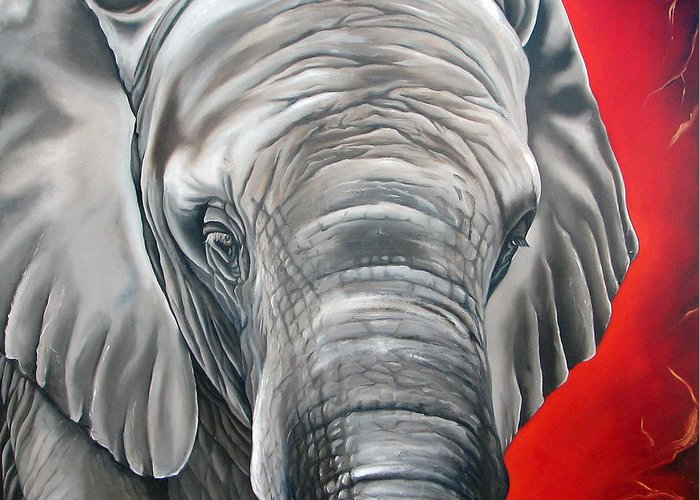 Elephant Greeting Card featuring the painting Elephant Six Of Eight by Ilse Kleyn