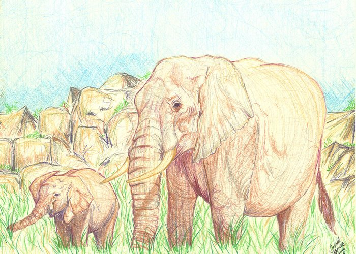Elephants Greeting Card featuring the drawing Elephants by Donald Jones