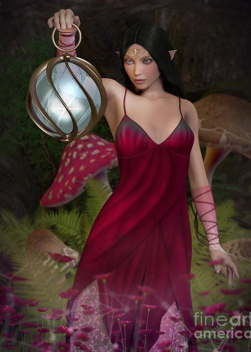 Elf Greeting Card featuring the digital art Elf With Lantern by Elle Arden Walby