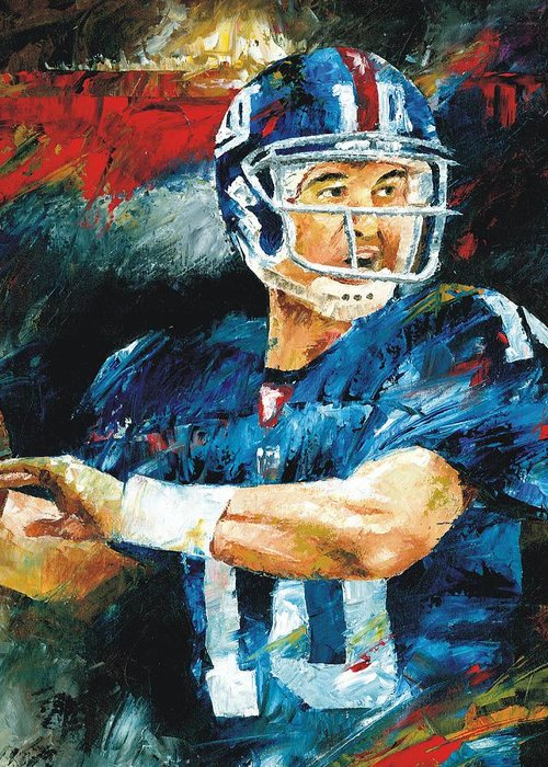 Eli Greeting Card featuring the painting Eli Manning by Christiaan Bekker