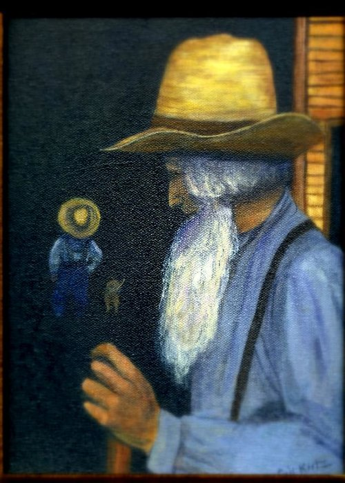 Men Greeting Card featuring the painting Eli Remembers by Gail Kirtz