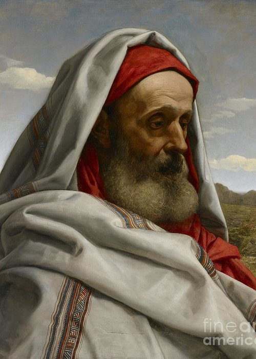 Eliezer Of Damascus; Syrian; Portrait; Male; Cloak; Beard; Head; Shoulders; Bust; Semi-profile; Biblical; Old Testament; Character; Painting;elderly; Old; Wizened; Steward; Portrait Greeting Card featuring the painting Eliezer Of Damascus by William Dyce