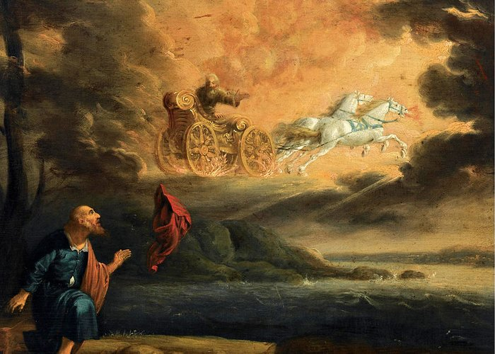 Elijah taken up into Heaven in the Chariot of Fire Greeting Card for Sale by Pieter Symonsz Potter