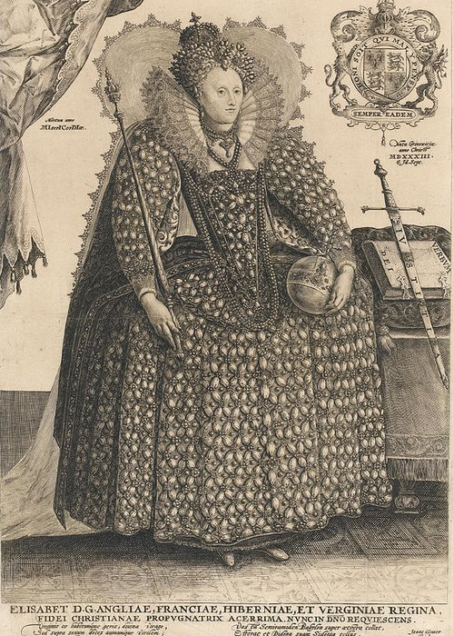 Female Greeting Card featuring the drawing Elizabeth, Queen Of England, C.1603 by Crispin I de Passe