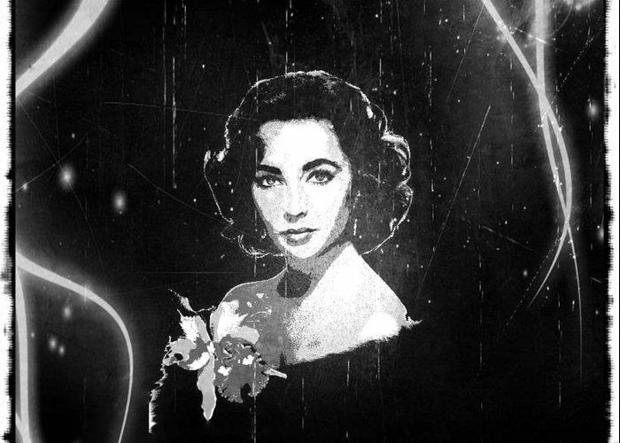 Elizabeth Taylor Greeting Card featuring the digital art Elizabeth Taylor - Black And White Film by Absinthe Art By Michelle LeAnn Scott