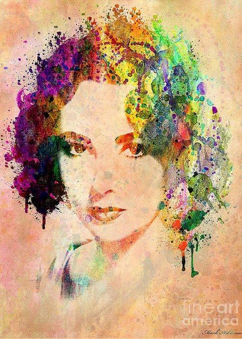 Elizabeth Taylor Greeting Card featuring the digital art Elizabeth Taylor by Mark Ashkenazi
