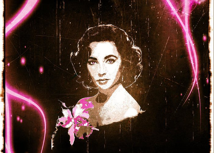 Elizabeth Taylor Greeting Card featuring the digital art Elizabeth Taylor - Pink Film by Absinthe Art By Michelle LeAnn Scott