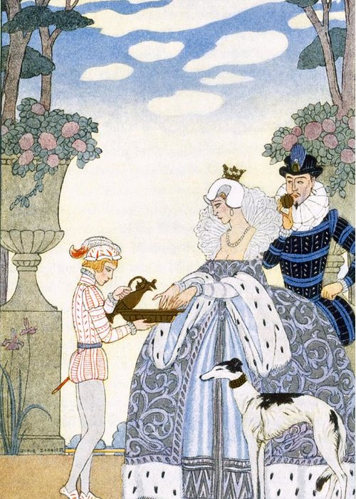 Stencil Greeting Card featuring the painting Elizabethan England by Georges Barbier