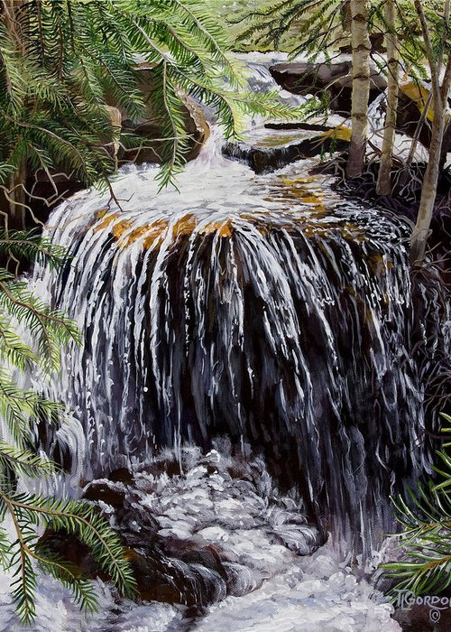 Tim Gordon Greeting Card featuring the painting Ellen's Waterfall by Timithy L Gordon
