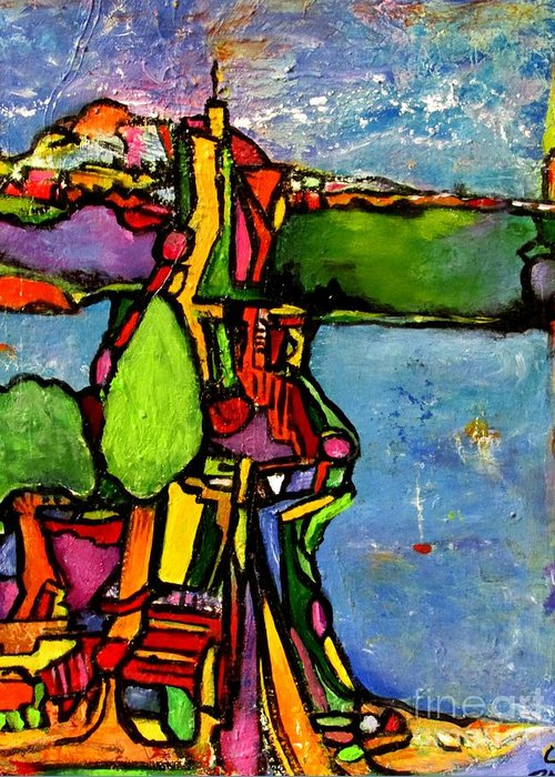 Elliott Bay Greeting Card featuring the painting Elliott Bay by Chaline Ouellet