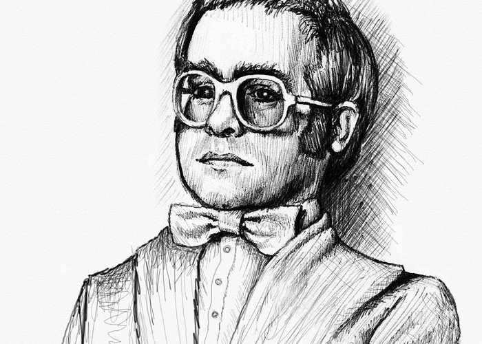 Elton John Greeting Card featuring the drawing Elton by Cristophers Dream Artistry