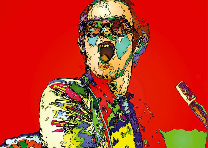 Elton John Greeting Card featuring the painting Elton in Red by John Farr