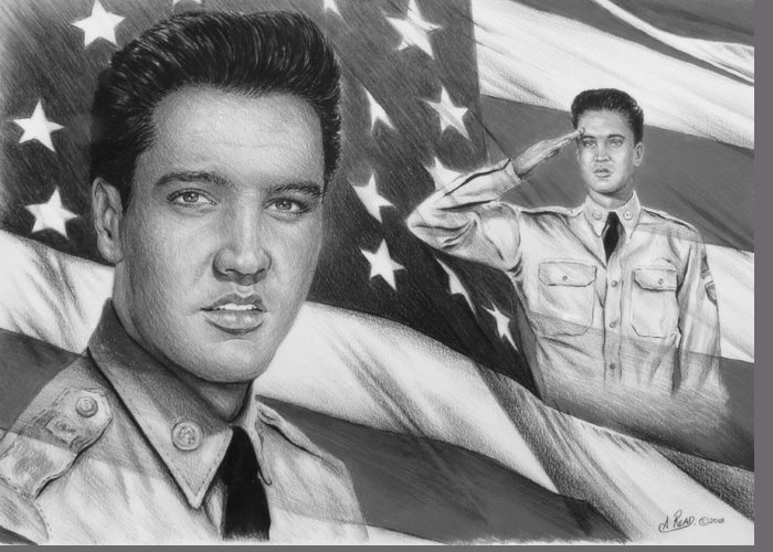 Elvis Greeting Card featuring the drawing Elvis Patriot Bw Signed by Andrew Read