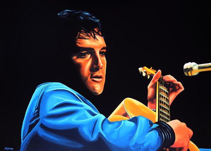 Elvis Greeting Card featuring the painting Elvis Presley 2 Painting by Paul Meijering