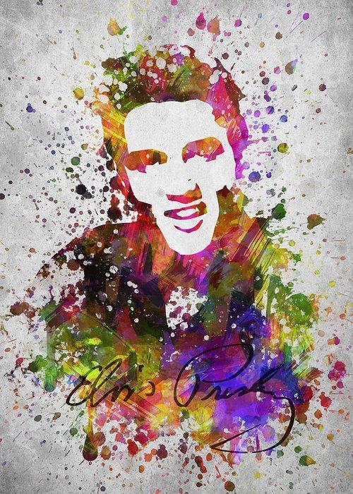 Elvis Presley Greeting Card featuring the digital art Elvis Presley in Color by Aged Pixel