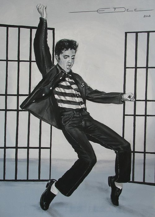 Elvis Presley Greeting Card featuring the painting Elvis Presley Jailhouse Rock by Eric Dee