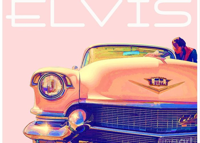 Elvis Greeting Card featuring the photograph Elvis Presley Pink Cadillac by Edward Fielding