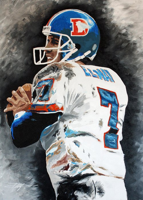 Elway Greeting Card featuring the drawing Elway by Don Medina