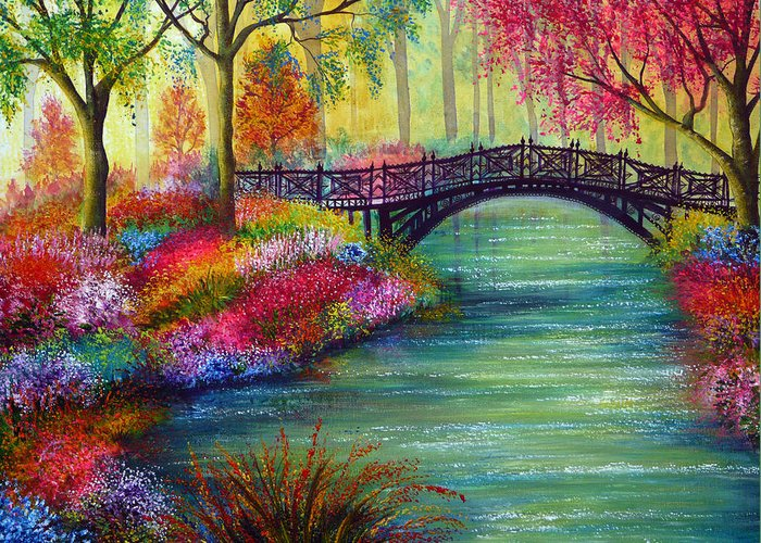 Popular Greeting Card featuring the painting Elysian Bridge by Ann Marie Bone