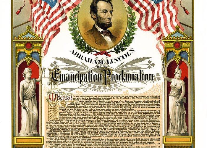 emancipation Proclamation Greeting Card featuring the photograph Emancipation Proclamation Tribute 1888 by Daniel Hagerman