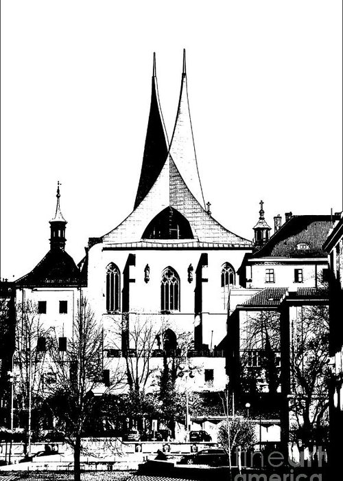 Prague Greeting Card featuring the mixed media Emauzy - Benedictine Monastery by Michal Boubin