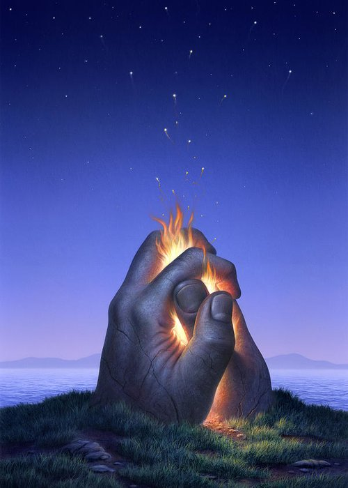 Fire Greeting Card featuring the painting Embers Turn To Stars by Jerry LoFaro