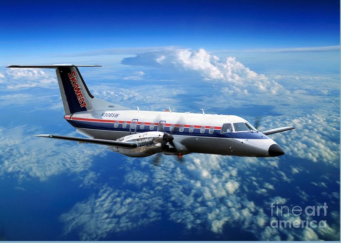 Flight Greeting Card featuring the photograph Embraer Emb-120er Braslia Skywest by Wernher Krutein