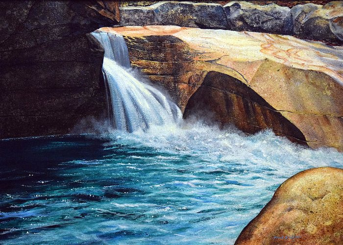 Emerald Pool Greeting Card featuring the painting Emerald Pool by Frank Wilson