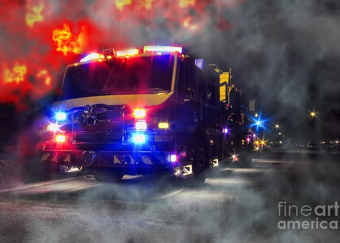 Fire Greeting Card featuring the photograph Emergency by Olivier Le Queinec