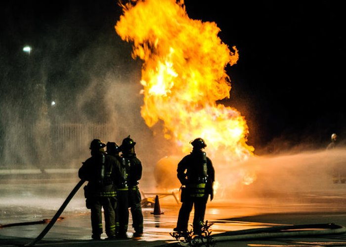Extinguish Greeting Card featuring the photograph Emergency Responders by Sennie Pierson