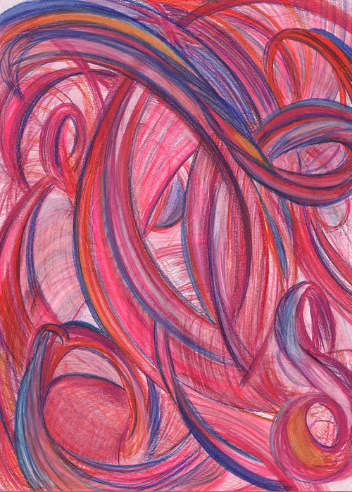 Abstract Greeting Card featuring the drawing Emerges From Us by Kelly K H B