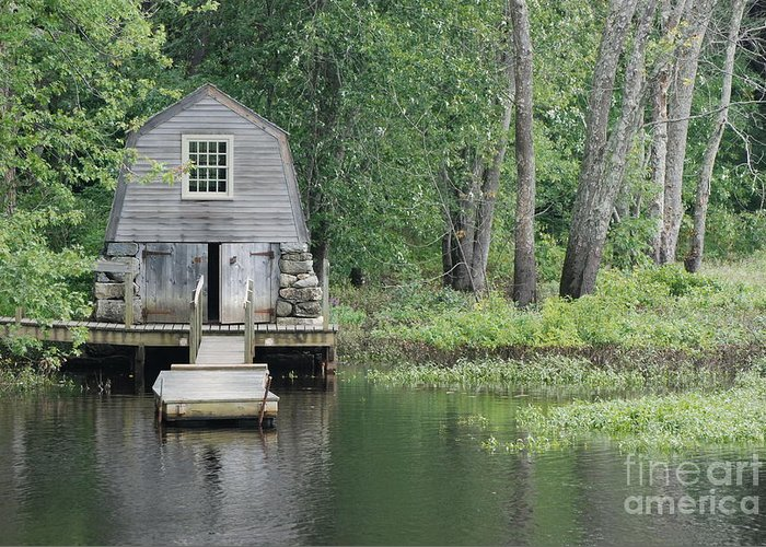 Landscape Greeting Card featuring the photograph Emerson Boathouse Concord Massachusetts by Amy Porter