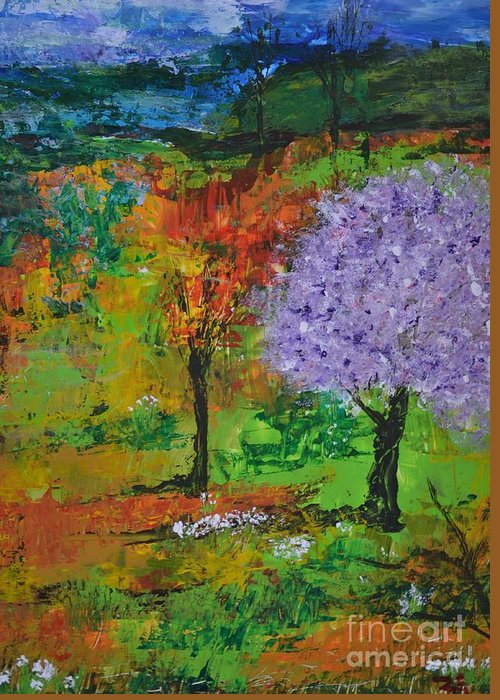 Landscape Greeting Card featuring the painting Emmet's Garden by Om Art Studio Dean Walther