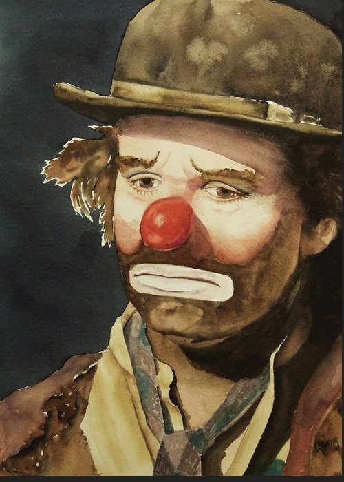Emmett Kelly Greeting Card featuring the painting Emmett Kelly by Greg and Linda Halom