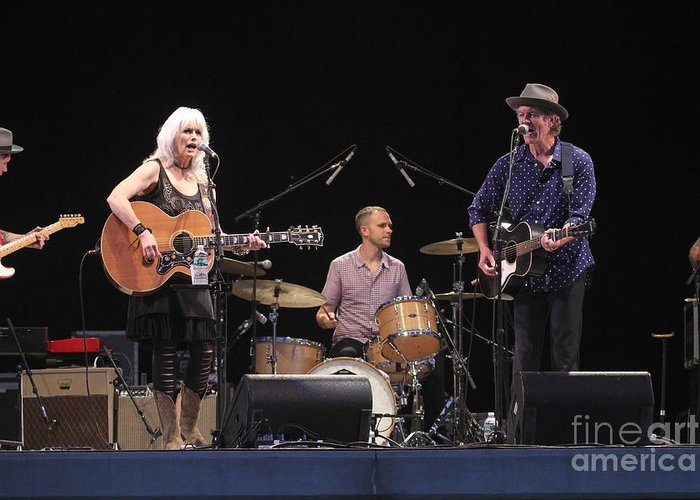 Rodney Crowell Greeting Card featuring the photograph Emmylou Harris by Concert Photos