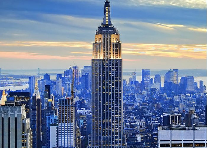 New York City Greeting Card featuring the photograph Empire State Building New York City Usa by Sabine Jacobs
