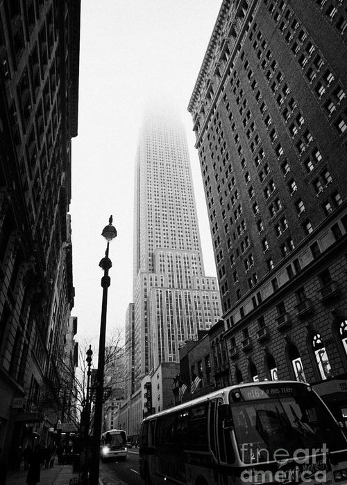 Usa Greeting Card featuring the photograph Empire State Building Shrouded In Mist And Nyc Bus Taken From 34th And Broadway Nyc New York City by Joe Fox