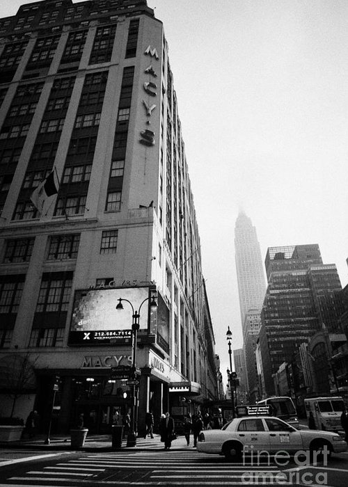 Usa Greeting Card featuring the photograph Empire State Building Shrouded In Mist As Pedestrians Crossing Crosswalk On 7th Ave New York by Joe Fox