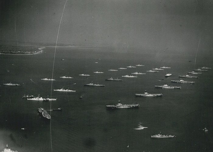 retro Images Archive Greeting Card featuring the photograph Empire�s Warships Line Up For The Coronation Review At by Retro Images Archive