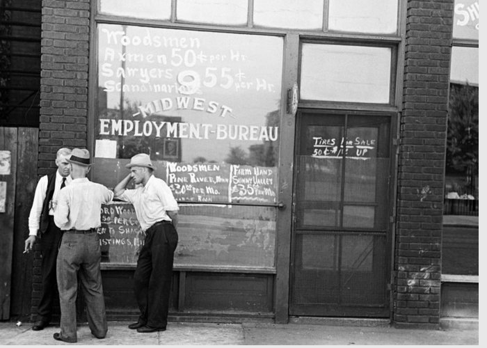 1937 Greeting Card featuring the photograph Employment Bureau, 1937 by Granger