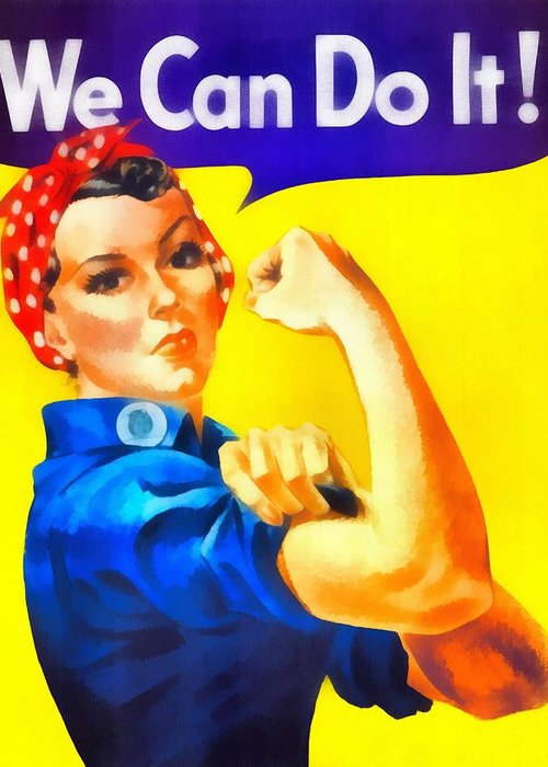 Vintage Rosie The Riveter Greeting Card featuring the mixed media Empowerment by Dan Sproul