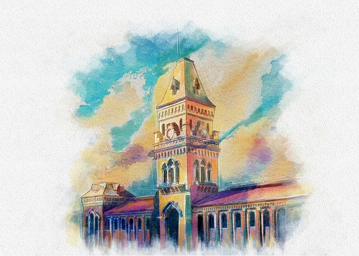 Pakistan Greeting Card featuring the painting Empress Market Karachi by Catf