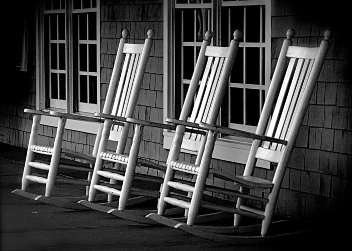 Black & White Greeting Card featuring the photograph .empty Chairs. by Lynn E Harvey