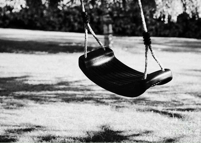 Empty Greeting Card featuring the photograph Empty Plastic Swing Swinging In A Garden In The Evening by Joe Fox
