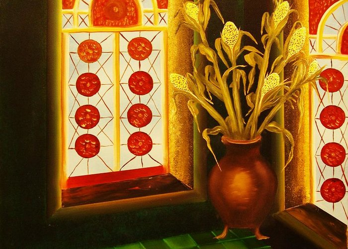 Room Greeting Card featuring the painting Empty Room-original Sold-buy Giclee Print Nr 23 Of Limited Edition Of 40 Prints by Eddie Michael Beck