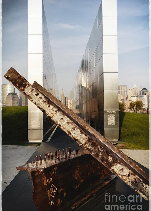 Empty Sky Greeting Card featuring the photograph Empty Sky New Jersey September 11th Memorial by George Oze