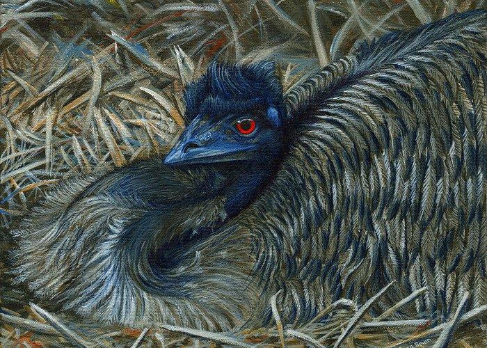 Emu Greeting Card featuring the painting Emu Elegance by Cara Bevan